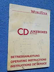 1988 Wurlitzer Cd Jukeboxes Operating Instructions In French German And English