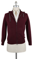 2225 Brunello Cucinelli Burgundy Red Cashmere Sweater - Hood Zip - Xs/46 -687