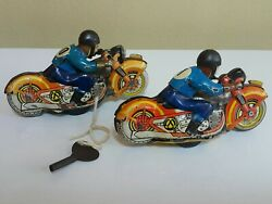 Vintage Motorcycle Biker 50's Tin Toy Wind Up Metal Ussr Cccp Soviet Russia X 2