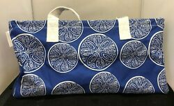 VON MAUR TOTE Hand Bag Coller Picnic Beach Travel Women Blue White Large $13.99