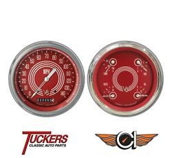 1947-53 Chevy Gmc Truck Gauges, V8 Red Steelie Classic Instruments Ct47v8rs52