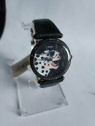 Fossil Women Lyric Three Hand Leopard Roar RAWR Black Leather Watch ES4710 $49.95