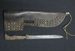 19th C. Brass Tacked Leather Sheat And Knife - Blackfoot - Native American