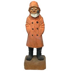 Fine Small Hand Carved Wooden Masculine Pipe Smoker Fisherman Figurine Sculpture