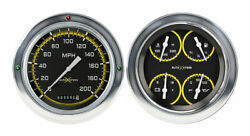 1954-55 Chevy Gmc Truck Auto Cross Gauges Yellow Classic Instruments Ct54axy52