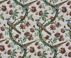 Vintage Upholstery Fabric Floral Birds