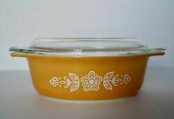 Vintage Pyrex 043 Oval Casserole Dish With Lid 1.5 Qt Butterfly Gold
