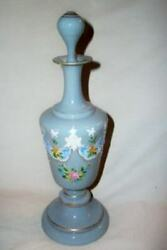 Late 1800s French Blue Opaline Glass Perfume Bottle Pontil Hp Moriage Antique