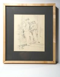 Jason Schoener Signed Original Signed Wwii Graphite Drawing Navy Sailors