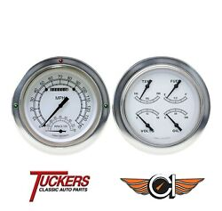1954-55 Chevy Gmc Pu Gauges, Tach Classic Instruments Ct54cw62, Classic White