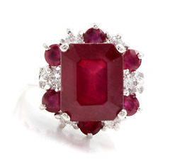 7.45 Carats Natural Red Ruby And Diamond 14k Solid White Gold Ring