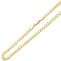 Men Women 14k Yellow Gold Chain 6mm Light Curb Chain Necklace