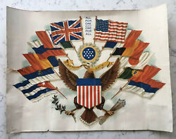 Antique Ww1 Patriotic Allied Flags With American Eagle Print Richard Cronin