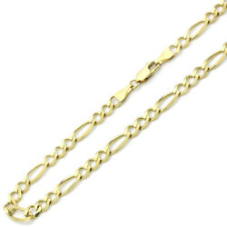 Men's 6mm 14k Yellow Gold Chain Flat Figaro Chain Necklace / Gift Box