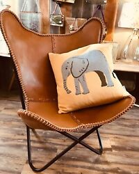 Handmade Vintage Genuine Leather Butterfly Chairs Living Room Only Cover