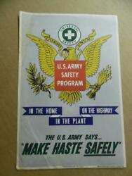 1943 Us Army Safety Program Small Poster Handbill Wwii Make Haste Safely Vintage