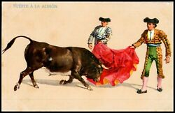 OAS CNY 05920 POSTCARD UN POSTED 1930 MATADORE AND BULL ARTIST SIGNED