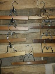 Vintage Set of 9 Wooden Pants Hangers Chrome Clamp Closure Various Lengths