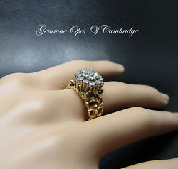 Tests As 14ct 14k Gold Brutalist Diamond Cluster Ring Size P 6.75g 1.14 Carats
