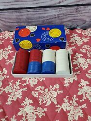 Vintage Thesco Horseshoe Paper Chips Embossed Round Edge Poker Chips W/box
