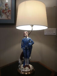 Blueboy Porcelain Lamp Hand Painted Light New Wiring Gainsborough Large Figurine