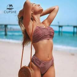 CUPSHE Solid Dusty Pink Ruched Mid-waisted Bikini Set Two Piece