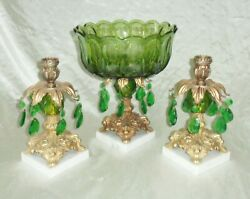 Centerpiece Compote And Candleholder Set, Green Lucite W Glass Hanging Crystals