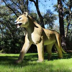 Lioness Statue Life Size Standing Figure Prowling Wildlife 8' Long