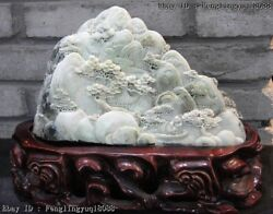 9 Chinese Dushan Stone Jade Mountain Forest Pine Old Man By Boat Art Sculpture