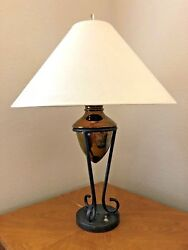 Vintage 33 3-way Coppertone Black Light Lamp With Large White Shade