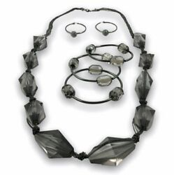 Womens Lucite Beaded Necklace Bracelet Earring Set Fashion Jewelry