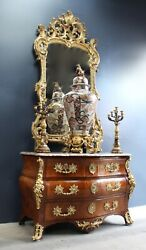 TOP QUALITY SET !  Early Louis XV Signed Commode Mirror 2x Cadelabra Large Vase.