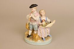 Fine Antique German 19th C Figure Group, Flute Playing Chicken, Boy Girl.