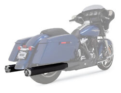 Vance And Hines Monster Round Slip-on Mufflers Black/chrome End Caps 46780