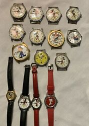 Vintage Mickey Mouse Minnie Mouse Goofy Snoopy Etc.watches Bradley Etc. 15 Total