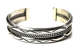 Sterling Silver Tahe Signed Heavy 4 Part Zigzag Cuff Bracelet 17mm 6-7/8 64g