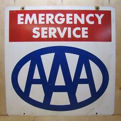 1970s Aaa Emergency Service 'property Of' Sign Double Sided Am Lynchburg Gas Oil
