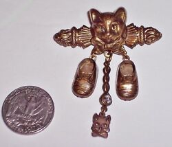 Antique Art Nouveau Brass Brooch Charm Cat With Tiny Baby Booties, Clear Stone