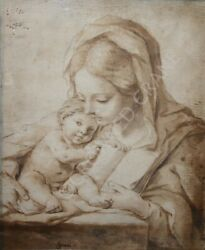 Beautiful Old Master Drawing 17th C Virgin & Child by Carlo Cignani 1628-1719