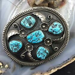 Native American Silver Large And Heavy Turquoise Western Belt Buckle For Men