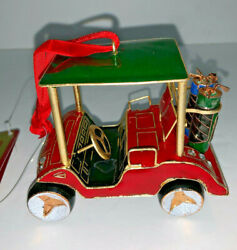 Rare New Mib Vintage Dillards Cloisonne Red Golf Cart Ornament Bought In 2002