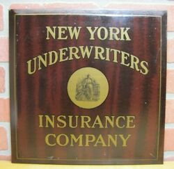New York Underwriters Insurance Company Antique Sign American Art Works Ohio