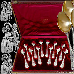Puiforcat Masterpiece French Sterling Silver 18k Gold Tea Spoons Set 12 Pc Box