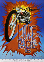 1993 Signed Stanley Mouse Love Ride 10 Poster Harley Davidson Muscular Dystrophy