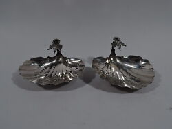 Gorham Bowls - Pair Of Antique Scallop Shells - American Sterling Silver - 1892