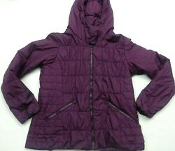 COLUMBIA Womens size XL Purple Thermal Coil hooded PUFFER bubble COAT Jacket