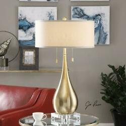 Brushed Brass Lagrima Accent Table Lamp 31in. In Height Designed By Jim Parsons