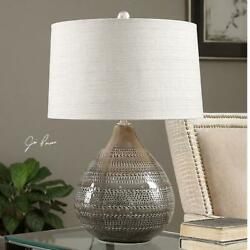 Smoke Gray Batova Accent Table Lamp 25in. In Height Designed By Jim Parsons