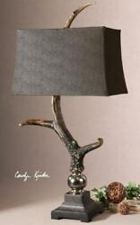 Crackled Wood Tone Base And Cast Aluminum Accents Table Lamp