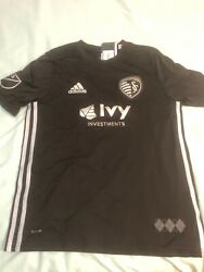 Adidas Mls Kansas City Sporting Investments Jersey Youth Nwt Size L Black